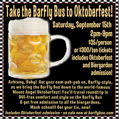 Mt Angel Oktoberfest BarFly Bus Pub Crawl Poster