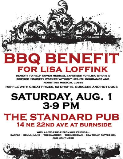 BBQ Benefit For Lisa Loffink @ The Standard Sat. Aug 1st 39pm