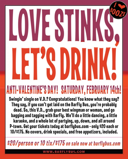 Valentine's Day in Portland: Love Stinks, Let's Drink | Barfly Bus |