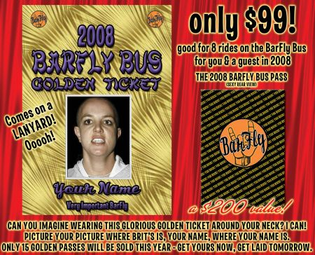 Only 3 Golden Tickets Left For Twelve Months of Barfly Bus Tours