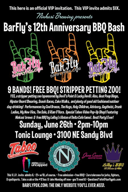 Sunday: BarFly Anniversary Party - 10 Bands, Free BBQ, $2 Ninkasi Beers & Pinata of Pr0n